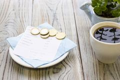 Pay restaurant bill royalty free stock images