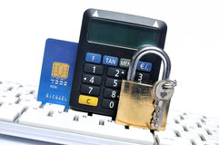 Pay secure with credit card Royalty Free Stock Photos