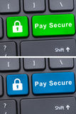 Pay secure text on computer keyboard Royalty Free Stock Photo