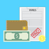 Pay tax concept. Payday payment banknote money, vector illustration Stock Images
