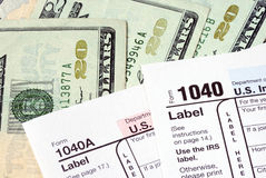 Pay tax for the income tax returns Stock Image