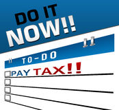 Pay Tax Now Red Blue Stock Photography