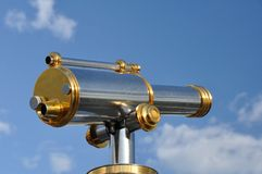 Pay telescope. Brass and steel coin operated telescope stock photo