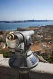 Pay Telescope and City Skyline Royalty Free Stock Photos