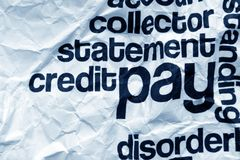 Pay text on crinkled paper. Close up of Pay text on crinkled paper Stock Photo