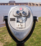 Pay to View Public Magnifying View Binoculars Riverside Park Stock Photo