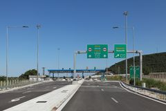 Pay tolls at highway in Greece Royalty Free Stock Images