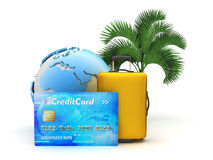 Pay for tropical holiday by credit card - concept illustration Stock Images