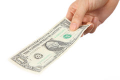 Pay a U.S. 1 doller  bill Royalty Free Stock Photo