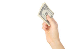 Pay a U.S. 1 doller  bill Stock Image