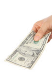 Pay a U.S. 10 doller  bill Royalty Free Stock Photo