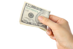 Pay a U.S. 10 doller  bill Royalty Free Stock Images