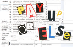 Pay up or else. Threat to the american taxpayer from the IRS Stock Photography