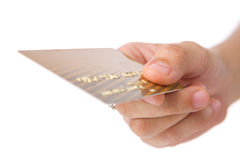 Pay using gold gredit card Stock Images