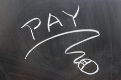 Pay word and mouse sign Royalty Free Stock Photography