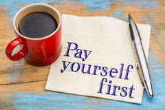 Pay yourself first - text on napkin Royalty Free Stock Photos