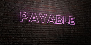 PAYABLE -Realistic Neon Sign on Brick Wall background - 3D rendered royalty free stock image Royalty Free Stock Photo