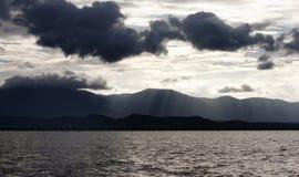 Payao lake and black cloud,. North of Thailand Stock Photos