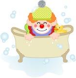 Payaso adorable que toma un baño stock de ilustración