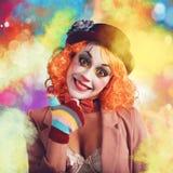 Payaso alegre y colorido Foto de archivo libre de regalías
