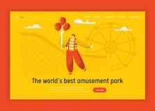 Payaso Character Website Template Globo divertido de la tenencia del comodín del carnaval que se coloca en cumpleaños de la monta ilustración del vector