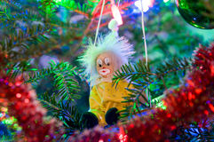 Payaso Christmas-Tree Decorations en una rama de árbol de navidad Imagen de archivo libre de regalías