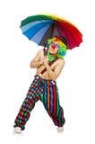 Payaso con el paraguas aislado Fotos de archivo libres de regalías