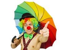 Payaso con el paraguas aislado Imagen de archivo libre de regalías