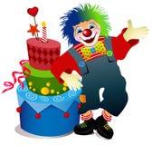 Payaso con la torta de cumpleaños Imagen de archivo libre de regalías