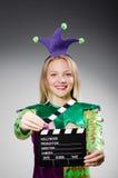 Payaso con película Imágenes de archivo libres de regalías
