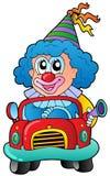 Payaso de la historieta que conduce el coche Imagen de archivo libre de regalías