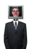 Payaso del ordenador del hombre de negocios aislado foto de archivo libre de regalías