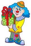 Payaso del partido con el regalo Imágenes de archivo libres de regalías