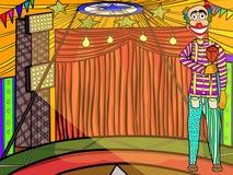 Payaso dentro de la tienda de circo Foto de archivo