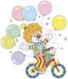Payaso divertido del jengibre que monta su bicicleta Foto de archivo libre de regalías