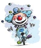 Payaso en colores del muchacho del Unicycle que hacen juegos malabares Imagen de archivo