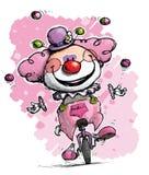 Payaso en el Unicycle que hace juegos malabares los colores de Girlie Fotos de archivo libres de regalías