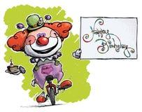 Payaso en el Unicycle que sostiene una tarjeta del feliz cumpleaños Fotos de archivo libres de regalías