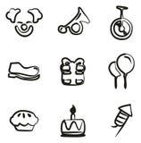 Payaso Icons Freehand Imagen de archivo libre de regalías