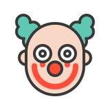 Payaso o comodín asustadizo con sangriento en la cara, editabl del icono de Halloween stock de ilustración