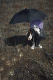 Payaso y paraguas Imágenes de archivo libres de regalías