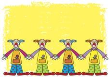 Payasos con el fondo amarillo ilustración del vector