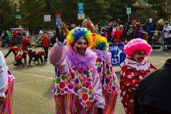 Payasos del desfile del día de fiesta de Philly Imagen de archivo