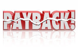 Payback 3d Word Revenge Vengeance Retribution Get Justice Settle. Payback word in red 3d letters to illustrate getting revenge, vengeance, retribution, justice Royalty Free Stock Photography