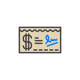 Paycheck filled outline icon, vector sign Royalty Free Stock Photo