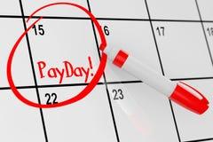 Payday έννοια Το ημερολόγιο με τον κόκκινο δείκτη και υπενθυμίζει Payday στο σημάδι στοκ φωτογραφίες με δικαίωμα ελεύθερης χρήσης