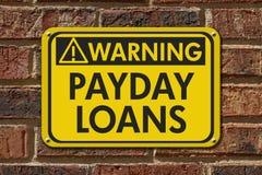 Payday προειδοποιητικό σημάδι δανείων στοκ εικόνα με δικαίωμα ελεύθερης χρήσης