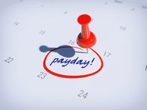 Payday calendar. Pin on calendar with word PAYDAY Royalty Free Stock Image