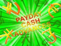Payday Cash Advances Means Loan 3d Illustration. Payday Cash Advances Symbols Means Loan 3d Illustration Royalty Free Stock Photography