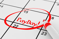Payday Concept. Calendar with Red Marker and remind Payday Sign Royalty Free Stock Images